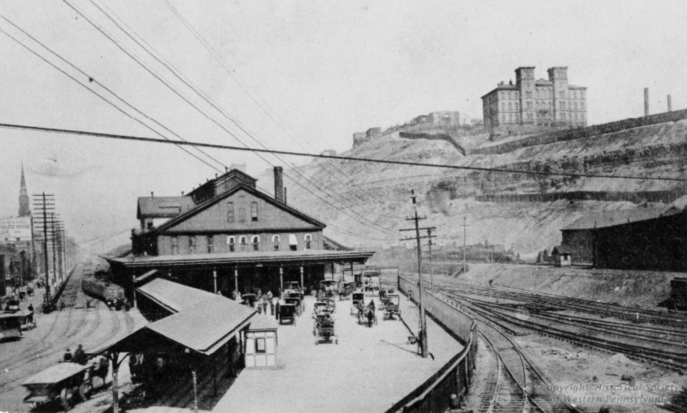 Pennsylvania Railroad Union Depot pictured on the left. The original Lathwood Foundry is pictured to the far right. Up on the hill was Bedford Reservoir.