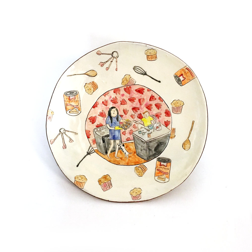 - Michelle and I worked on a set of 4 plates that would serve as a portrait of her sweet family. I made a plate each of her, her son, and her dog, and the final plate was the three of them together, making pumpkin muffins, one of their favorite family activities.