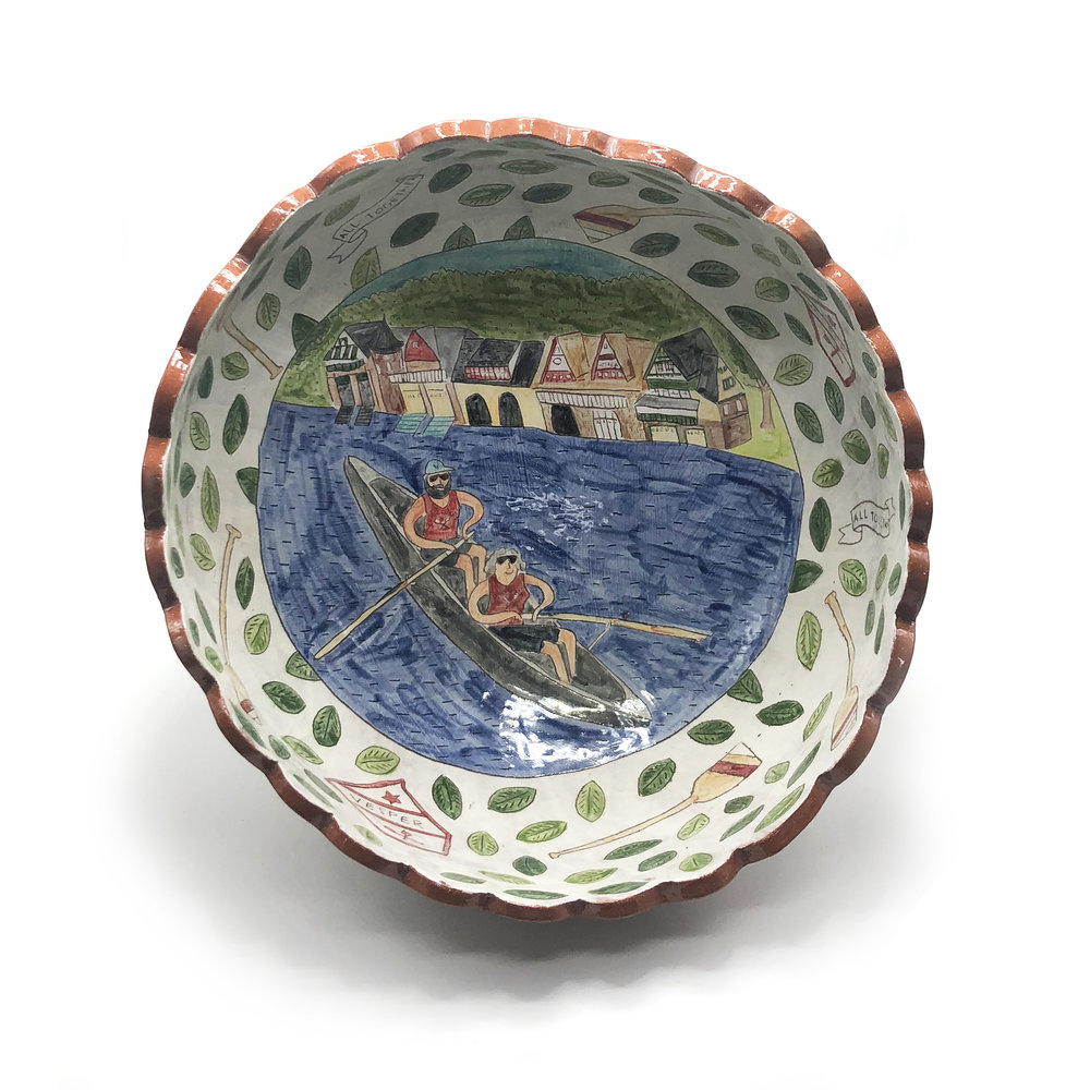 - This client asked for a serving bowl with her parents rowing on the river by Boathouse Row in Philly.