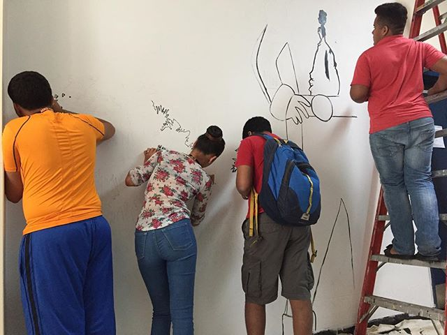 ESL Summer School students working on this Simon Bolivar mural at EBC High School for Public Service. #simonbolivar #psag #bl_art