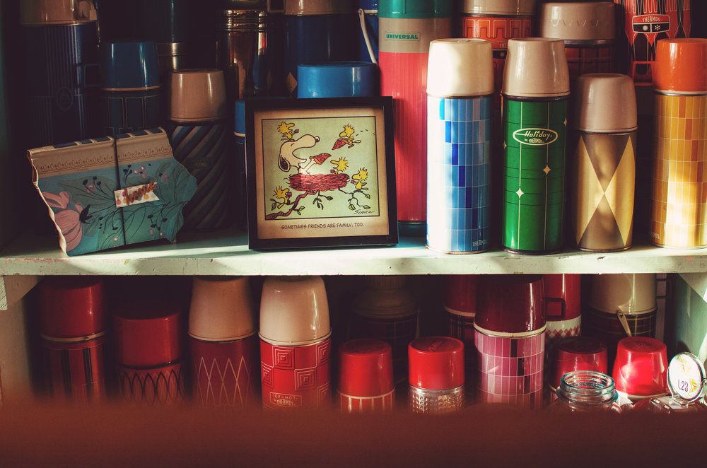 Colorful, vintage thermoses makes a pretty kitchen kitchen display. H.Prall & Co. | hprallandco.com