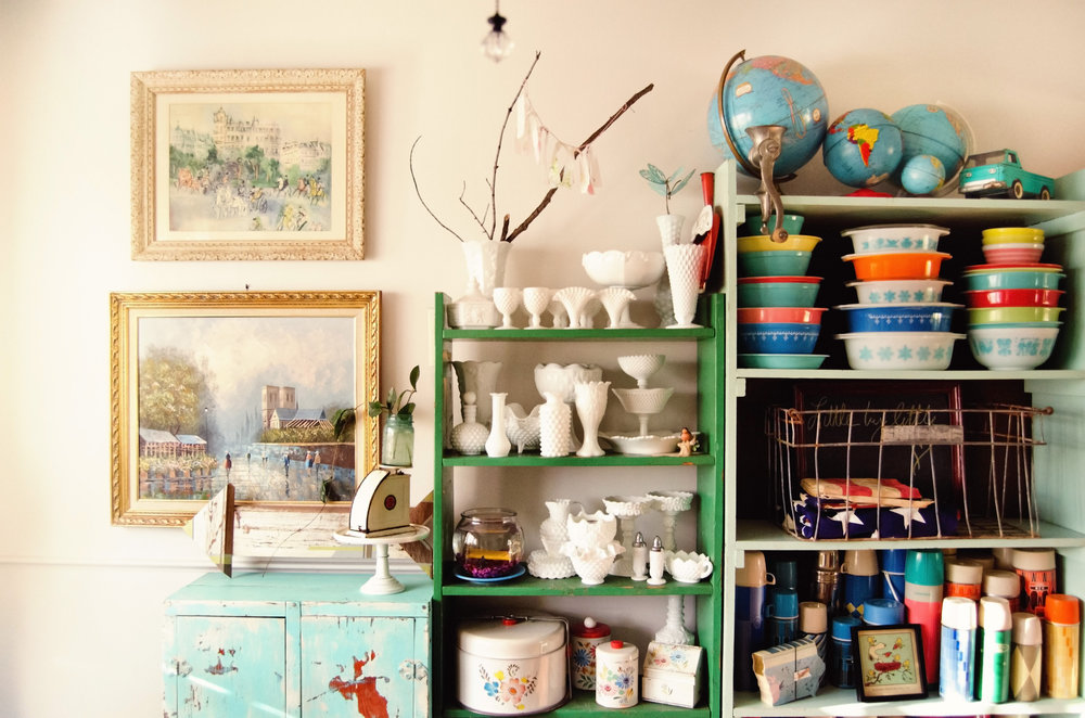 Colorful kitchen full of milk glass, and vintage Pyrex. H.Prall & Co. | hprallandco.com