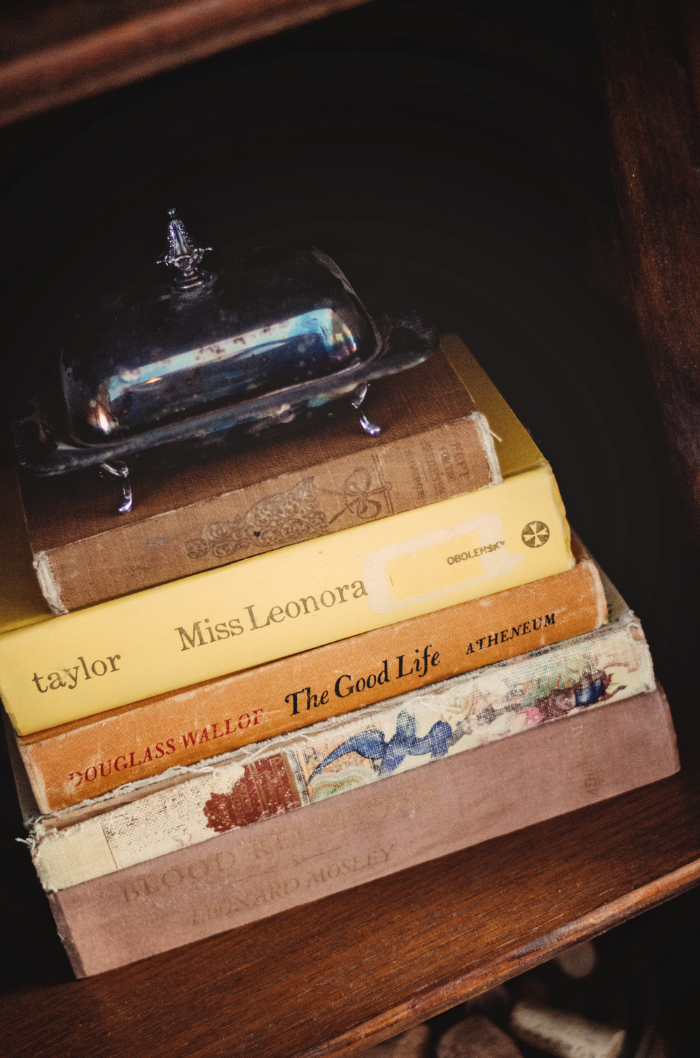 Stack of vintage books as decor. | hprallandco.com