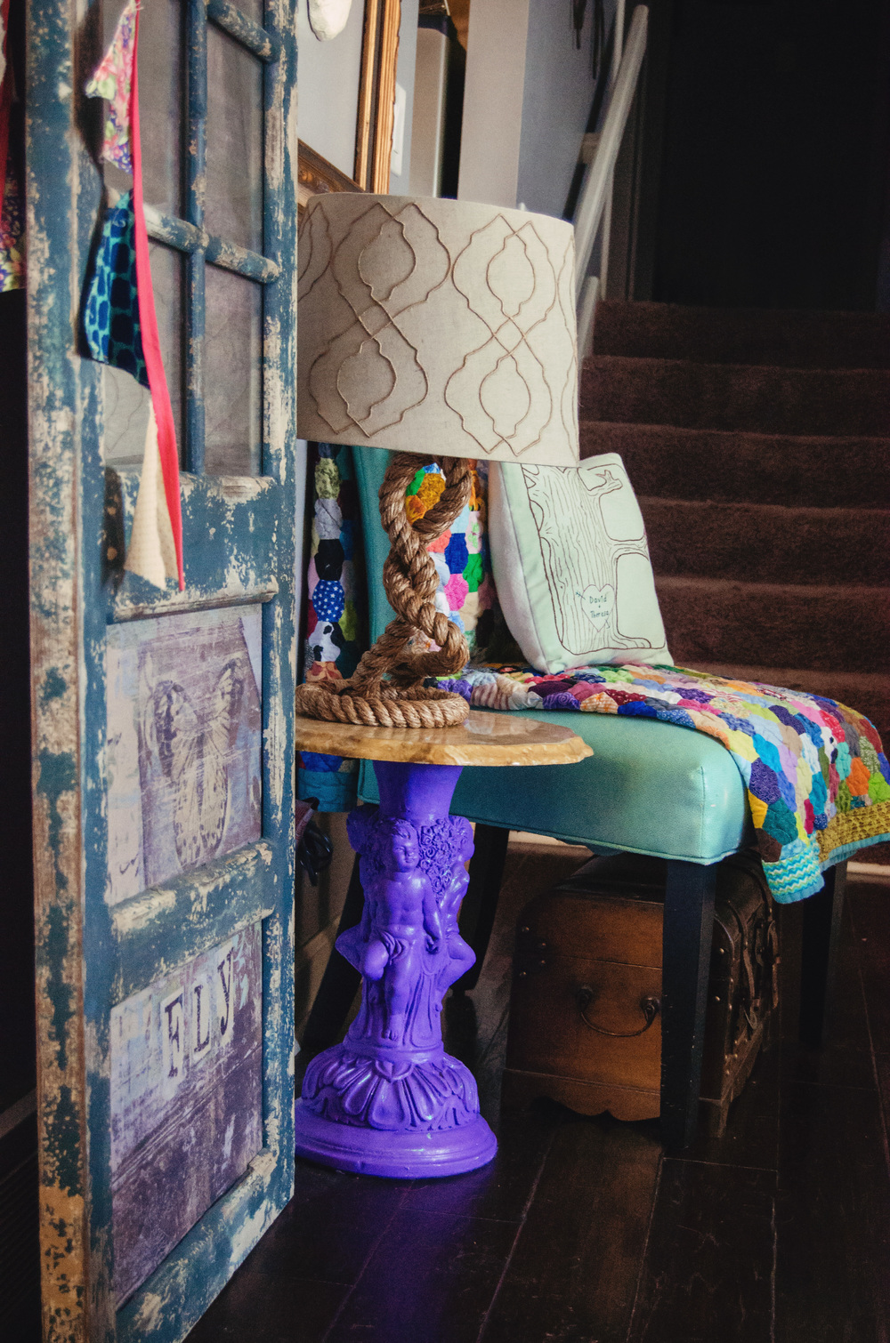 End table with the base painted in a bright, fun color. | hprallandco.com