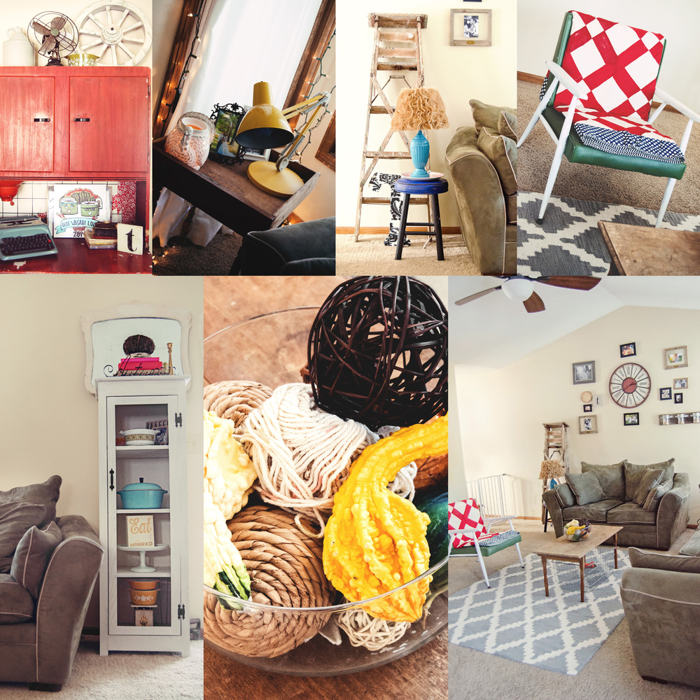 Collage of a neutral home interior with pops of red, yellow, and turquoise. | hprallandco.com