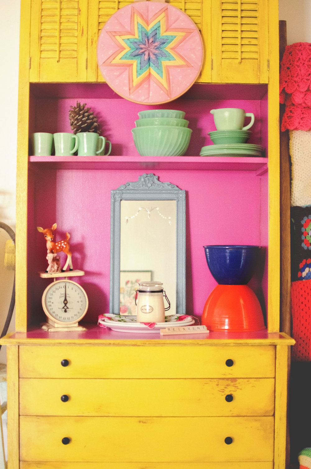 Yellow hutch with pink interior. H.Prall & Co. | hprallandco.com