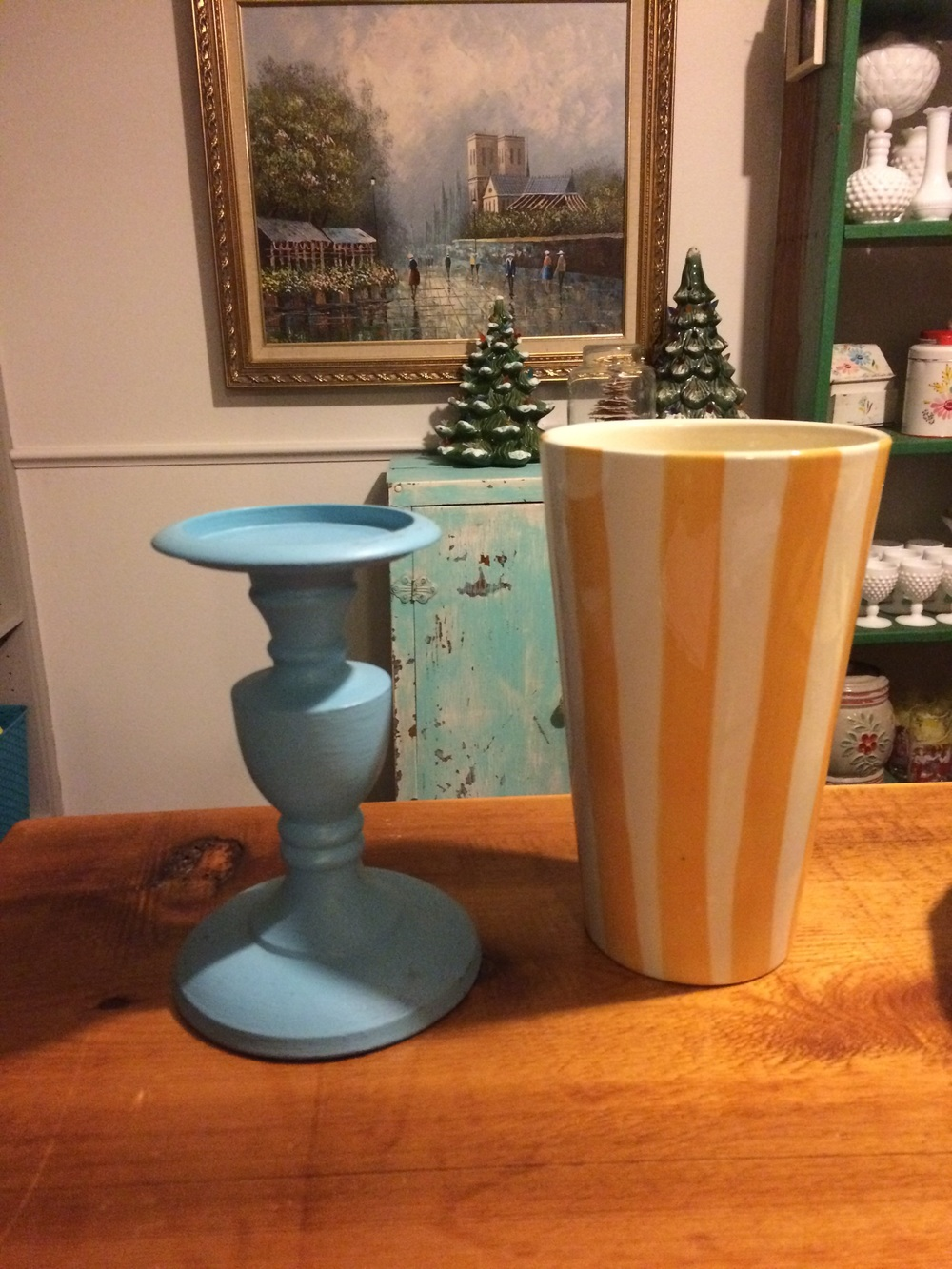 Thrifted orange and white striped vase and light blue candle holder. || RustopiaConsulting.com