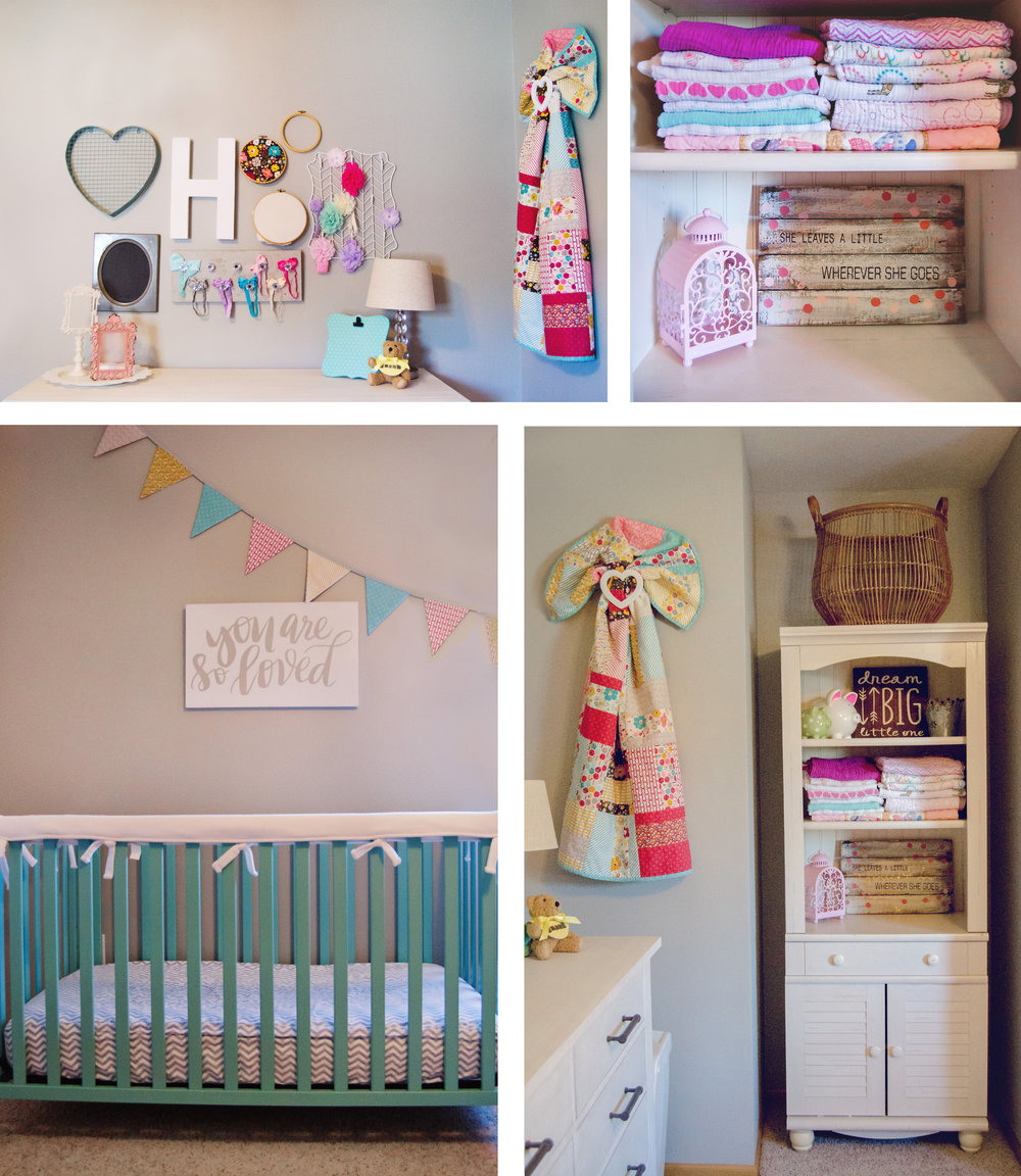Colorful nursery decor and a turquoise crib for a baby girl. | hprallandco.com