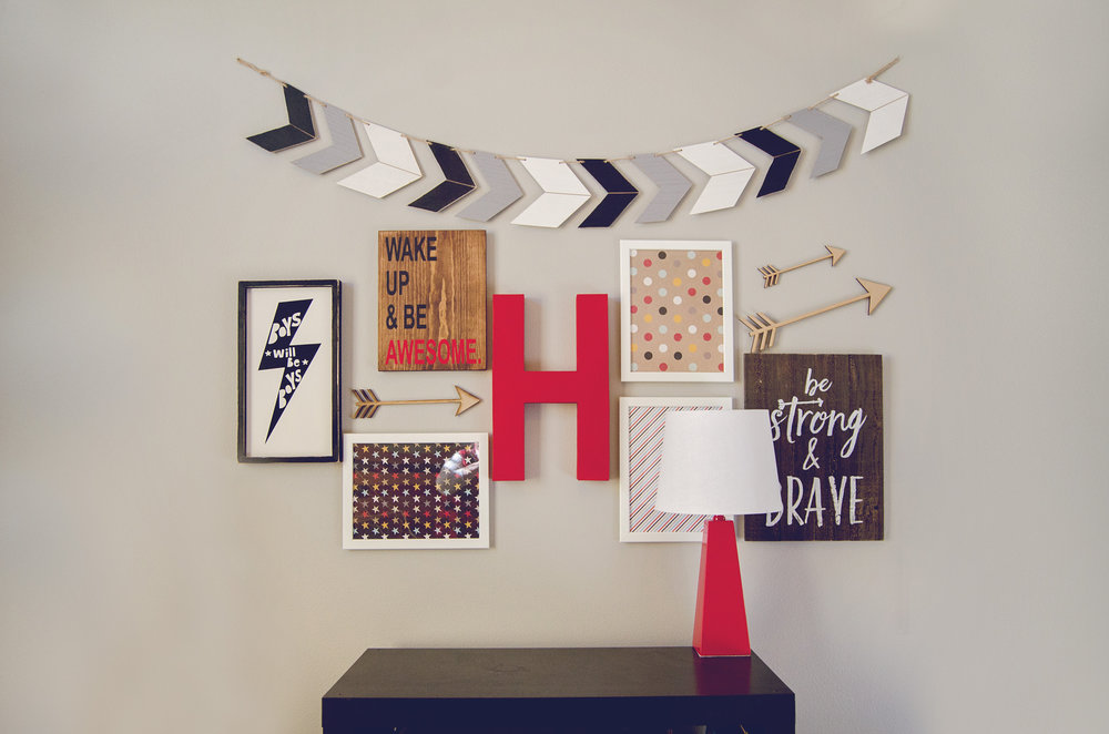 Boys room gallery wall with red, gray, and white. | hprallandco.com