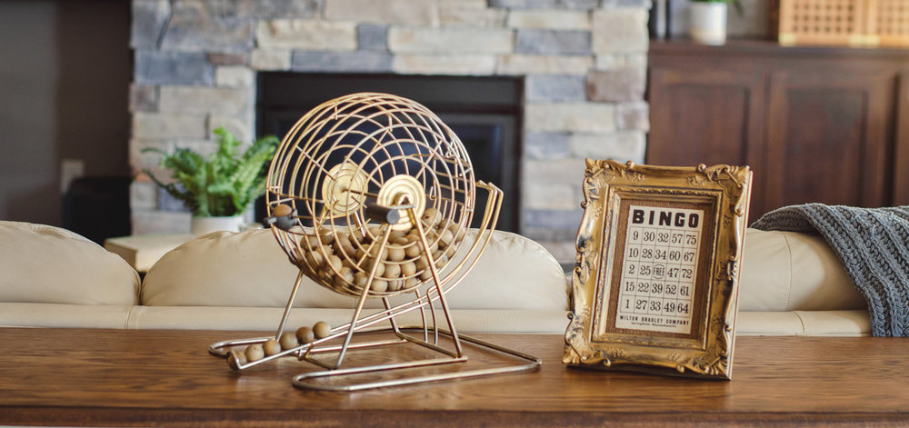 Bingo ball cage as living room decoration. | hprallandco.com