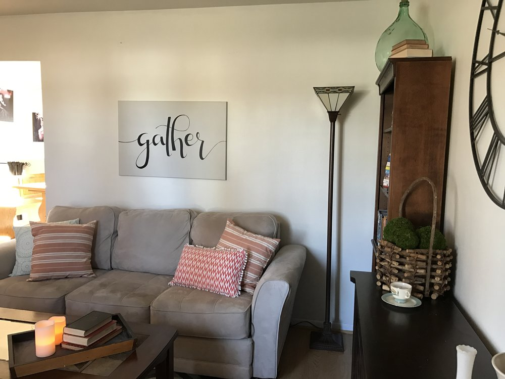Living Room With a 'Gather' Sign.