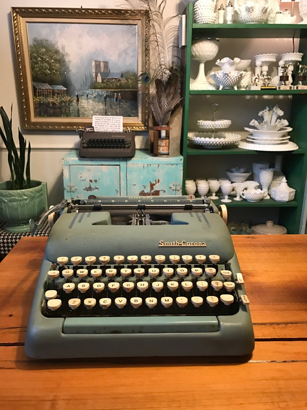 Blue Vintage Typewriter.