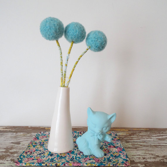 Three blue billy buttons in a vase | Credit: Berry Island | Blog post via: RustopiaConsulting.com