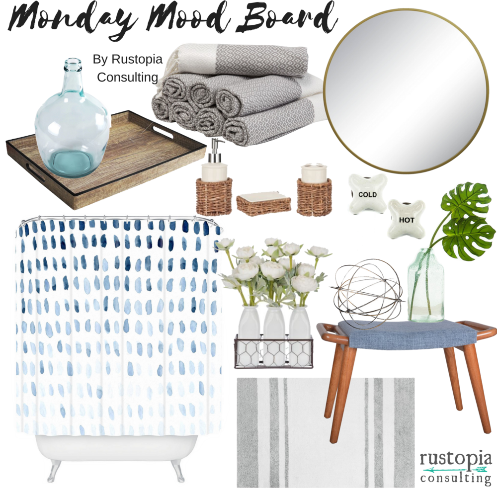 Monday Mood Board for bathroom decorating | RustopiaConsulting.com