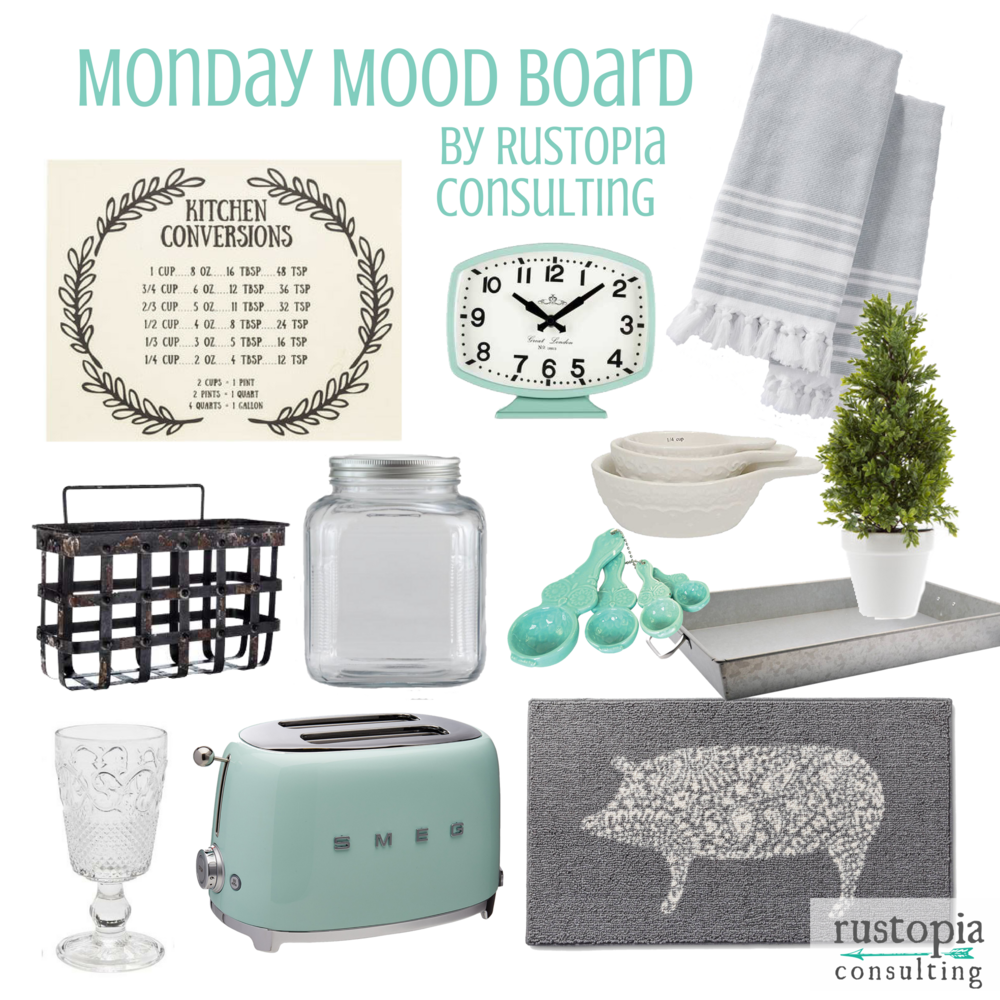 Mint kitchen mood Board featuring mint appliances, and farmhouse style kitchen decor and accessories. | RustopiaConsulting.com