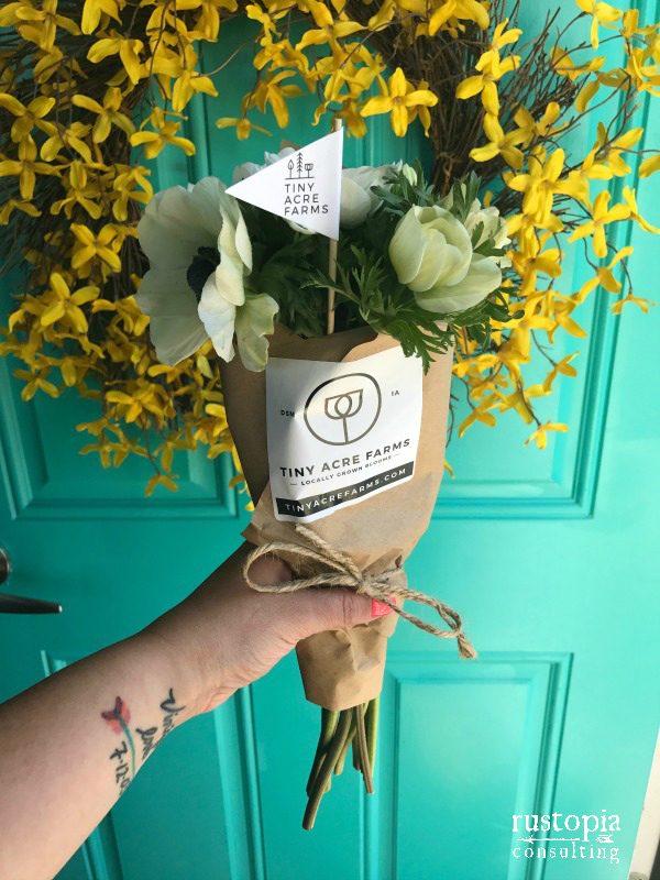 Tiny Acres Farm bouquet in front of my teal door | RustopiaConsulting.com