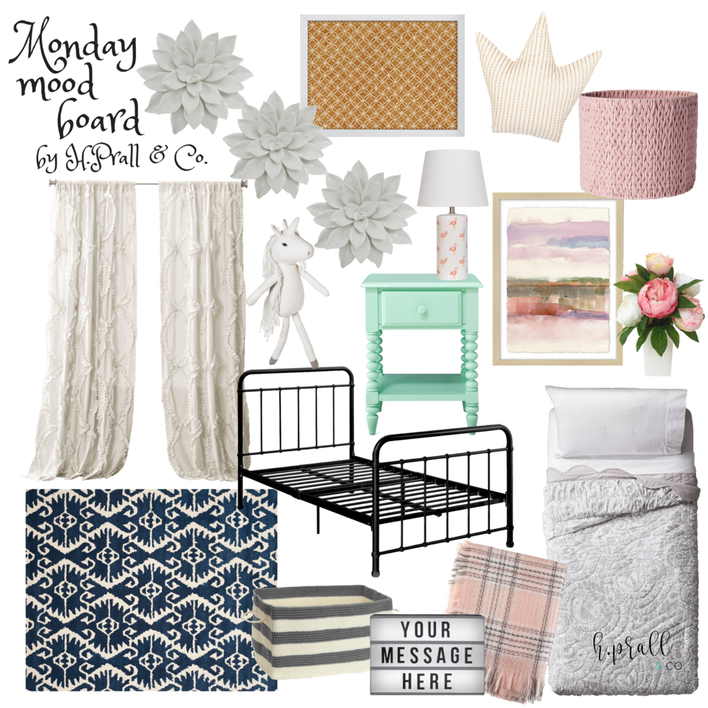 Monday Mood Board featuring a mint nightstand, ruffly curtains and bedding, pink accents, flower wall decor, and a crown throw pillow by RustopiaConsulting.com