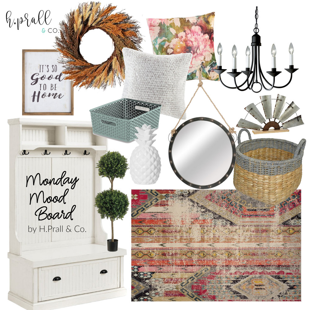 Monday Mood Board for an entryway featuring an abstract area rug, wicker basket, topiary, round mirror, white faux fur throw pillow. floral print throw pillow, and ceramic white pineapple by RustopiaConsulting.com