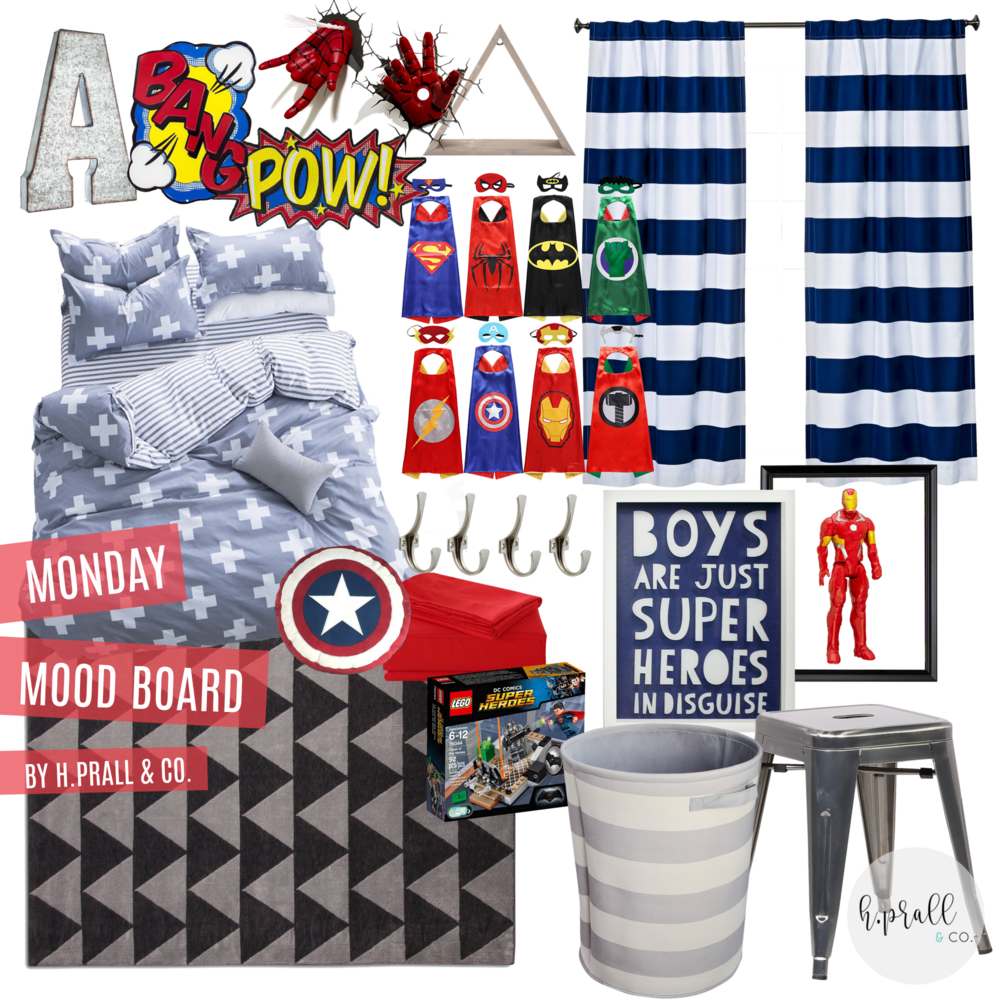 Boys superhero themed bedroom design via  H.Prall & Co.