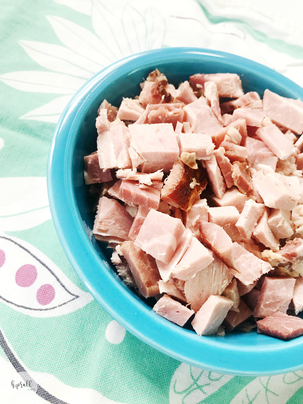 Diced ham in a bowl ready for the Ham + Potato recipe from H.Prall & Co. | hprallandco.com