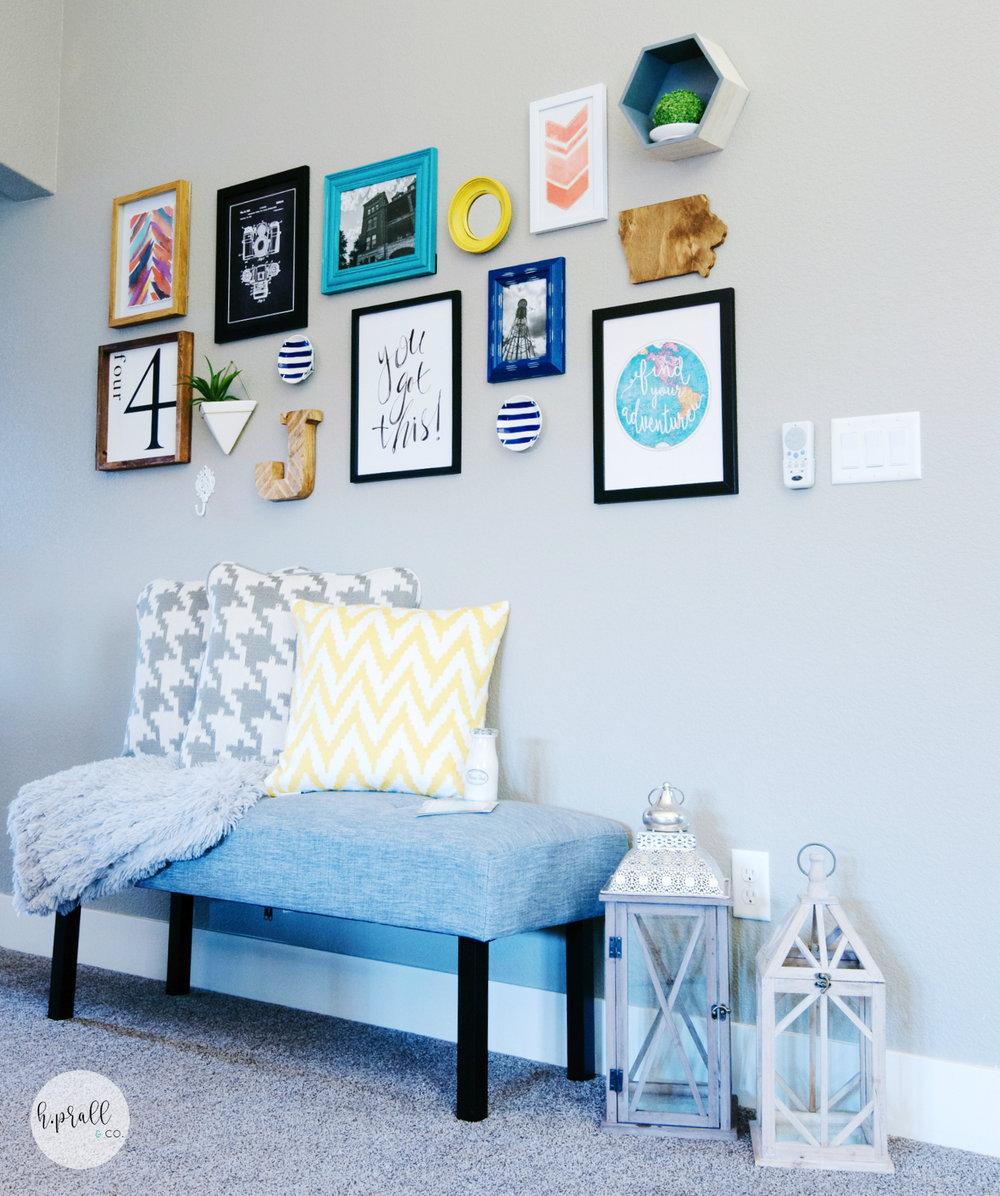 Bright colors in a gallery wall design | HPrallandCo.com
