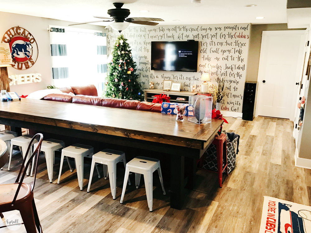 Chicago Cubs styled basement with a handlettered wall | hprallandco.com