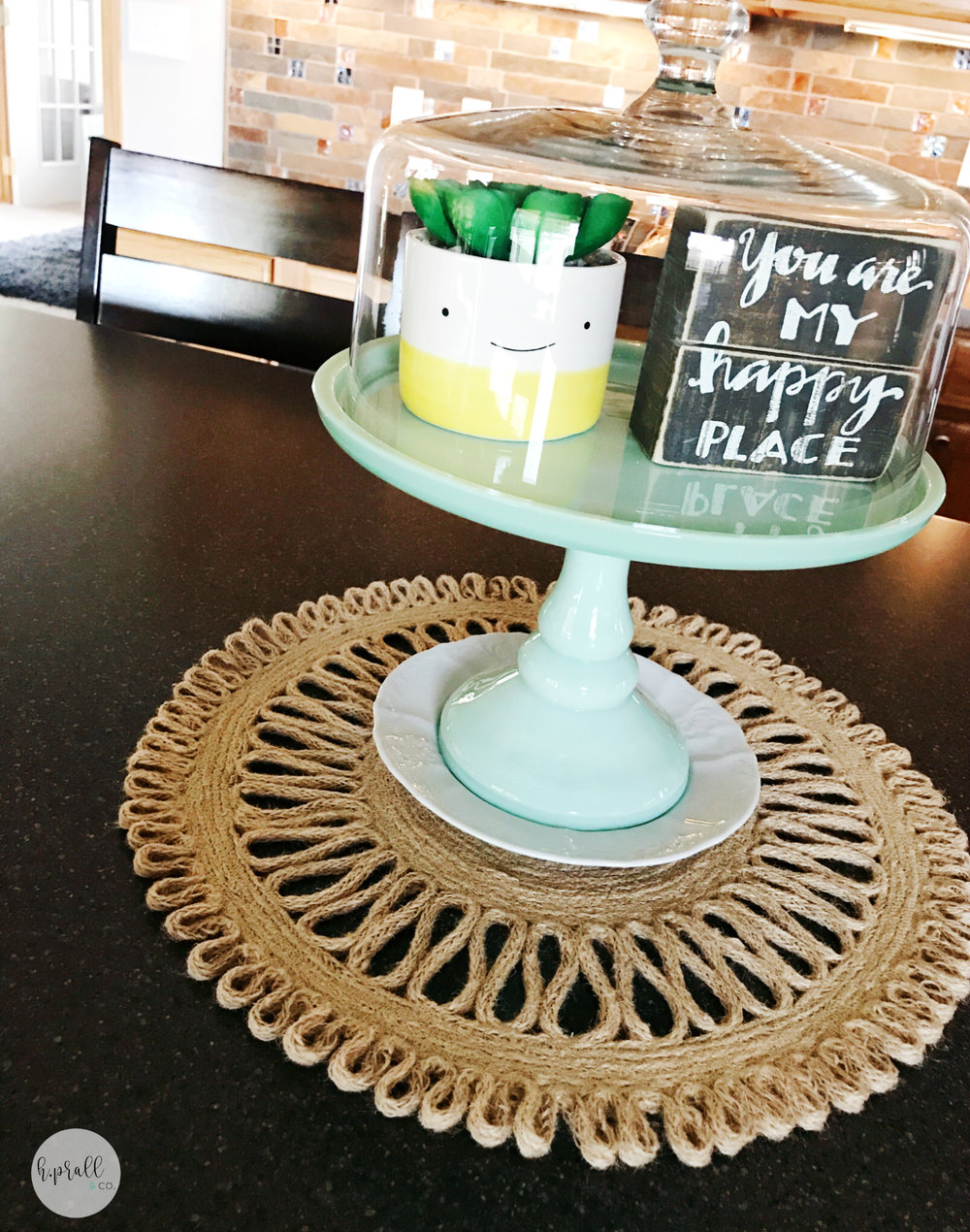 Using a cakestand as a simple centerpiece by H.Prall & Co.