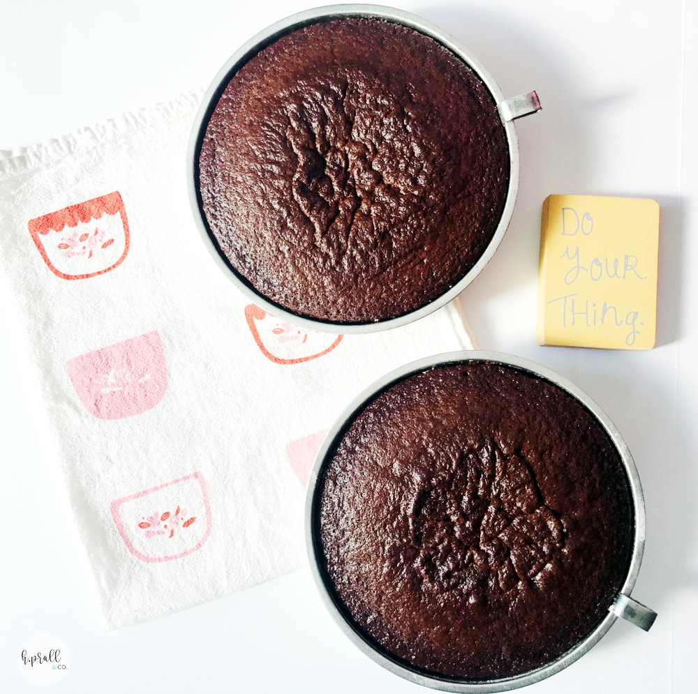 Chocolate cake rounds ready to be frosted | Interior decorating blog | hprallandco.com