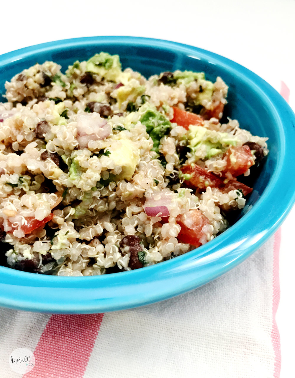 Bowl full of Southwest Quinoa Salad from H.Prall & Co. Interior Decorating. | hprallandco.com Interior Decorating in Des Moines, IA