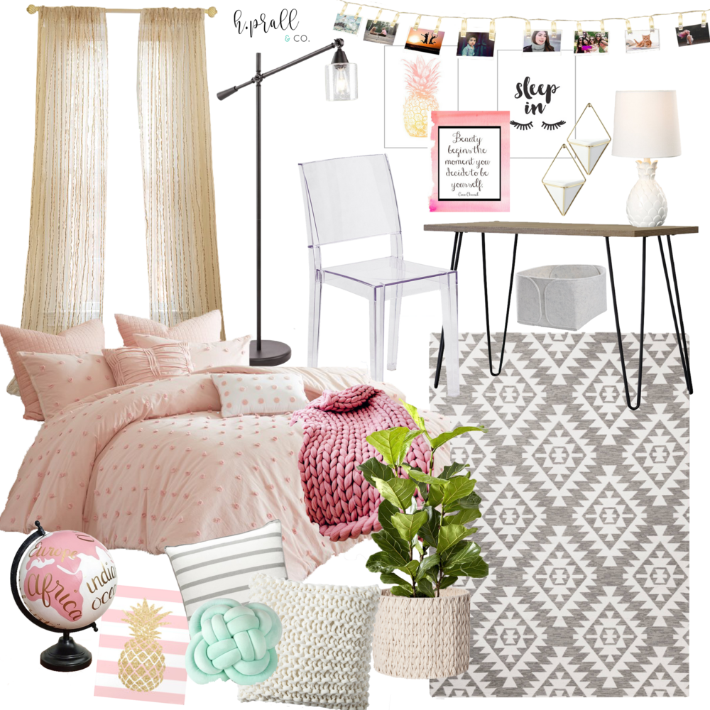 Girls Room Mood Board featuring lots of pink, pineapples, and texture! HPRALLANDCO.COM