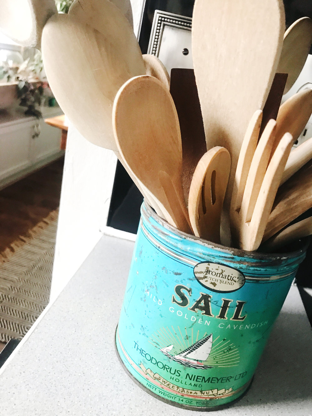 Vintage canister as a kitchen utensil holder | hprallandco.com | H.Prall & Co. Interior Decorating, Des Moines, IA