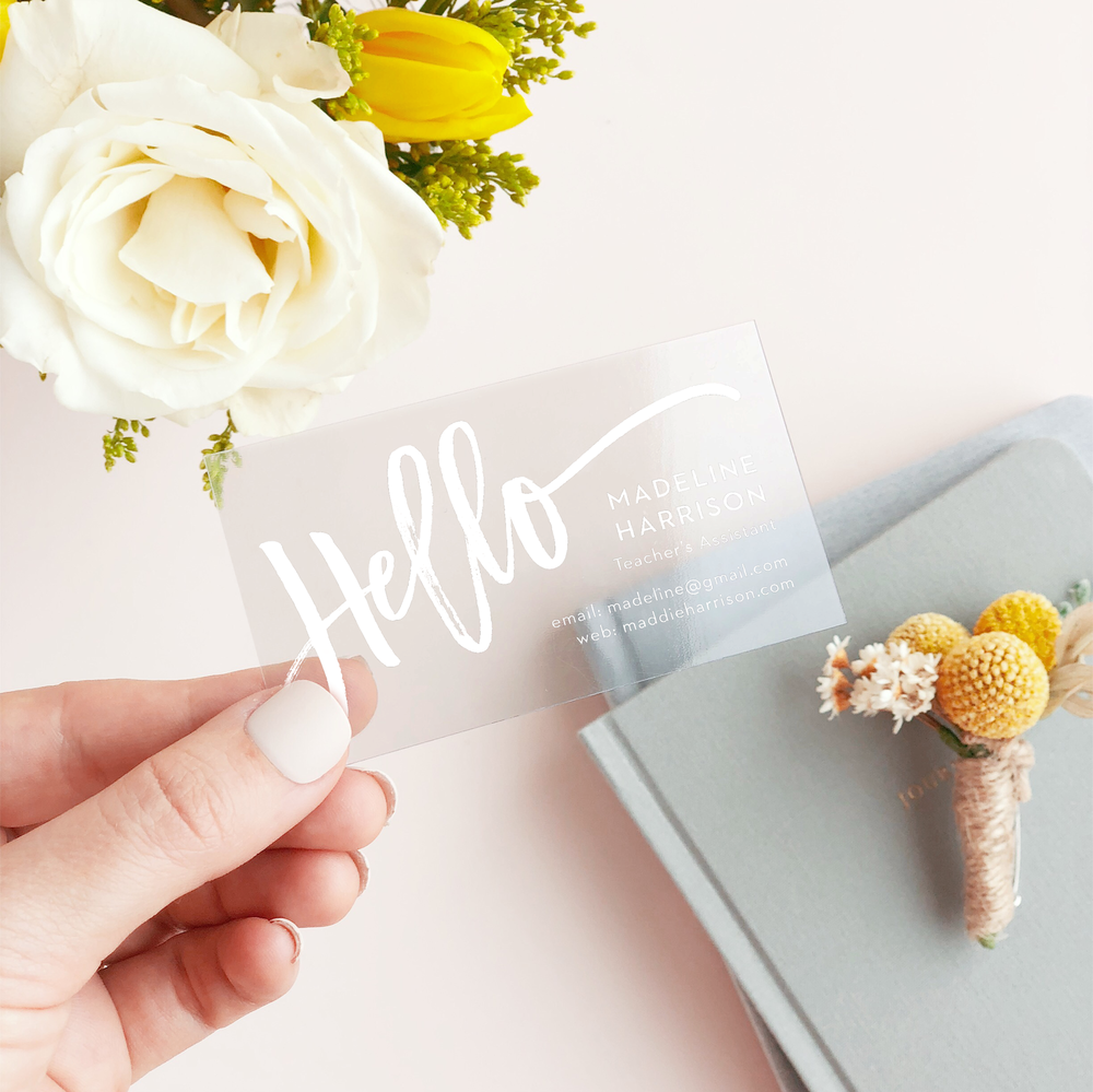 Great Business Cards = Great Branding | I'm talking about my brand new clear business cards from Basic Invite over at hprallandco.com