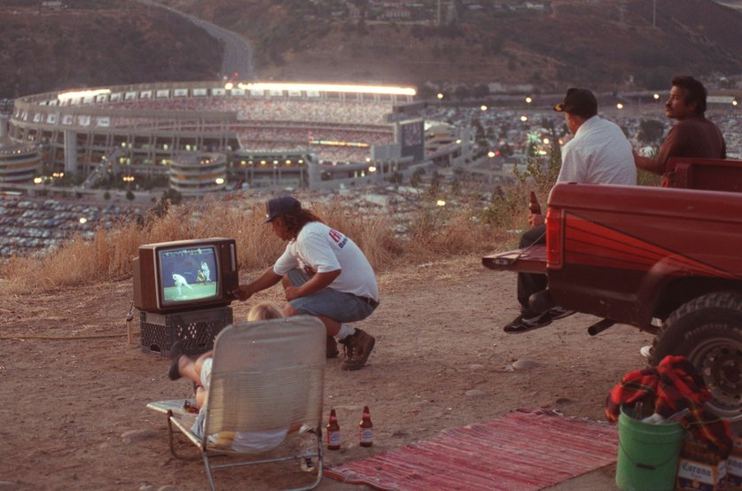 Grandstanders watch the MLB All Star Game from a hill overlooking Jack Murphy Stadium, San Diego, 1992; Image by Charles Starr