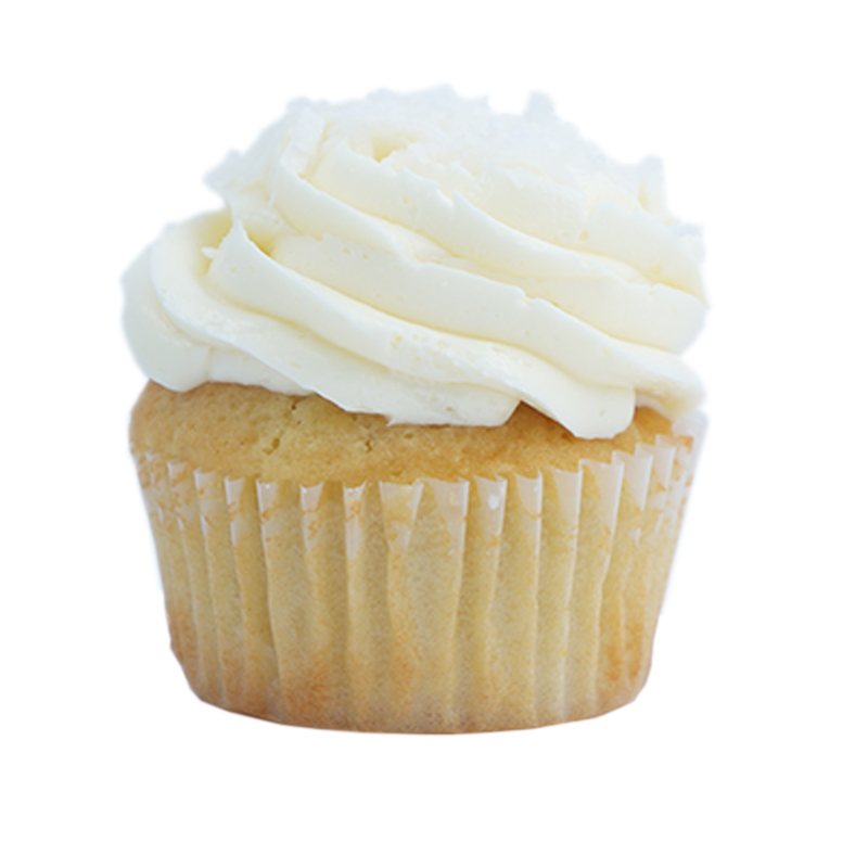 Snow Flake Coconut cupcake, Coconut Cream filling, Coconut buttercream.                                                                                       Available in regular and  mini size.