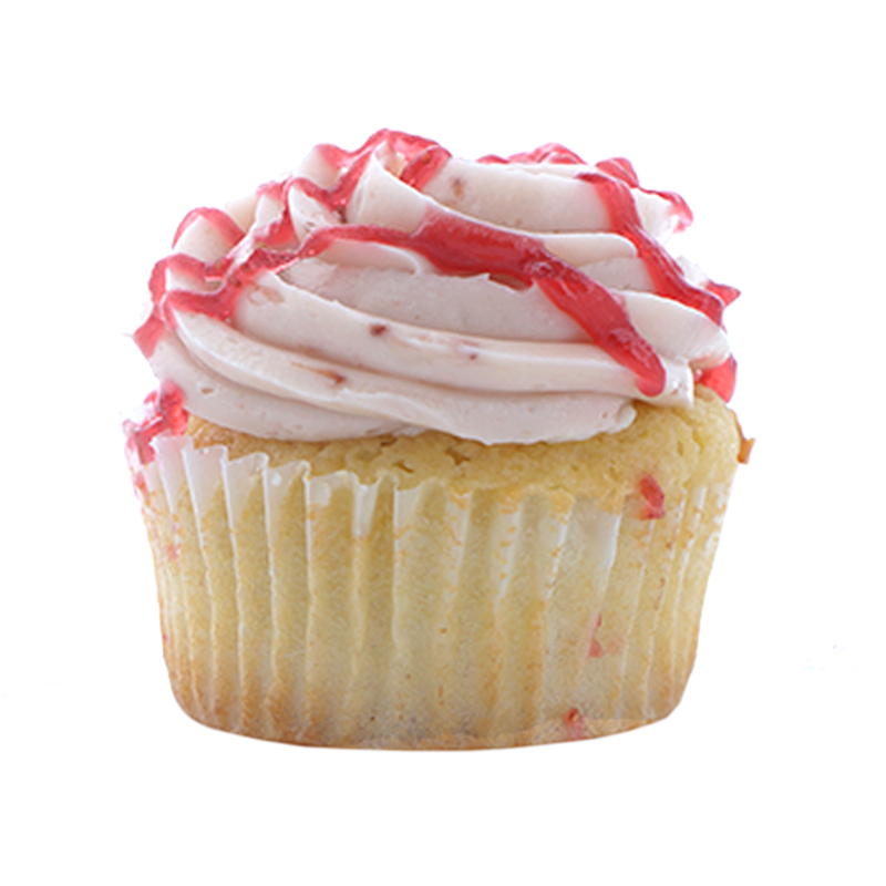 Birthday Cake Vanilla cupcake, Whipped Cream filling, Strawberry buttercream.                                                                                       Available in regular and  mini size.  . Gluten Free option available daily. Please call the store for daily flavor.
