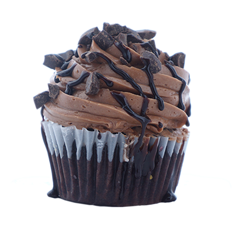 Chocolate Splash Chocolate cupcake, Chocolate cream filling, Chocolate buttercream.                                                                Available in regular and  mini size.   Gluten Free option available daily. Please call the store for daily flavor.