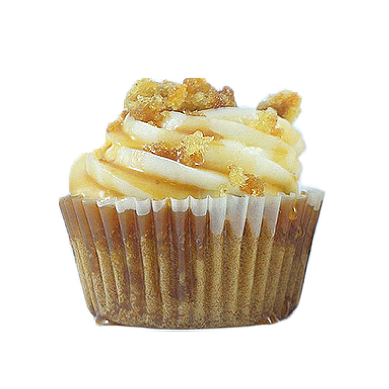 Bunny Hop Carrot cake, Caramel filling, Cream Cheese Frosting, caramel drizzle, Carrot Cake Crumbs.                             Available in regular and  mini size.