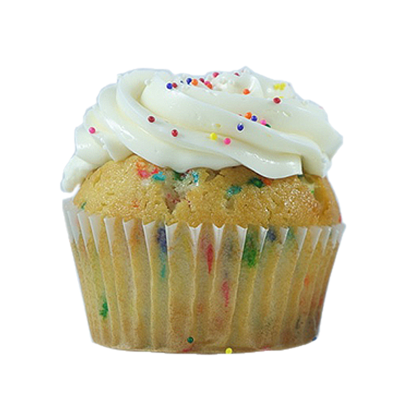 Funfetti Funfetti cake, Whipped Cream filling,Funfetti buttercream.                                                                                       Available in regular and  mini size.   Gluten Free option available daily. Please call the store for daily flavor.