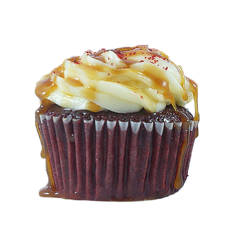 Red Carpet Red Velvet cake, Caramel Pecan filling, Cream Cheese frosting, Caramel drizzle.                                           Available in regular and  mini size.  . Gluten Free option available daily. Please call the store for daily flavor.