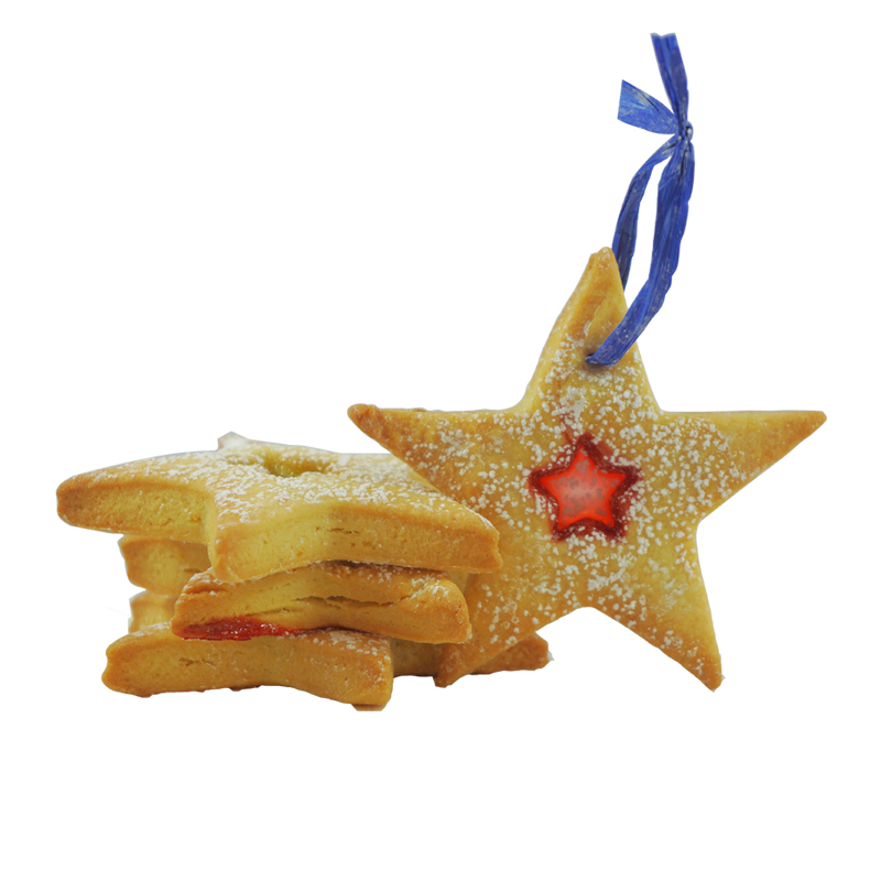 CROSTATA ORNAMENT COOKIE    Crostata Cookies (Traditional Italian Dough), with a heart of Cherry Hard Candy (Red), or Apple Hard Candy (Green) to decorate your tree!   $3.00 each,   GF option available   Gift Package available upon request.