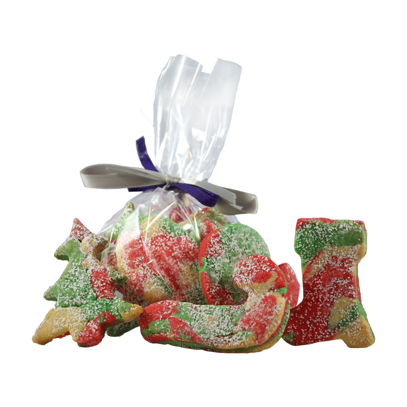 ASSORTED CANESTRELLI COOKIES    Scattered colors: Canestrelli Cookies (Italian Sugar Dough) in Red, Green, and White, covered in powdered sugar   $2.00 each  GF option available   Gift Package available upon request.