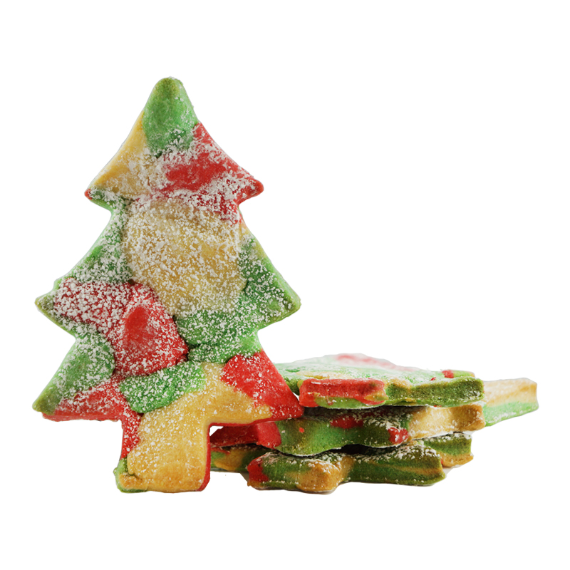 CANESTRELLI  COOKIE BIG TREE   Scattered colors: Canestrelli Cookies  (Italian Sugar Dough) in Red, Green, and White, covered in powdered sugar  $4.50 each  GF option available   Gift Package available upon request.