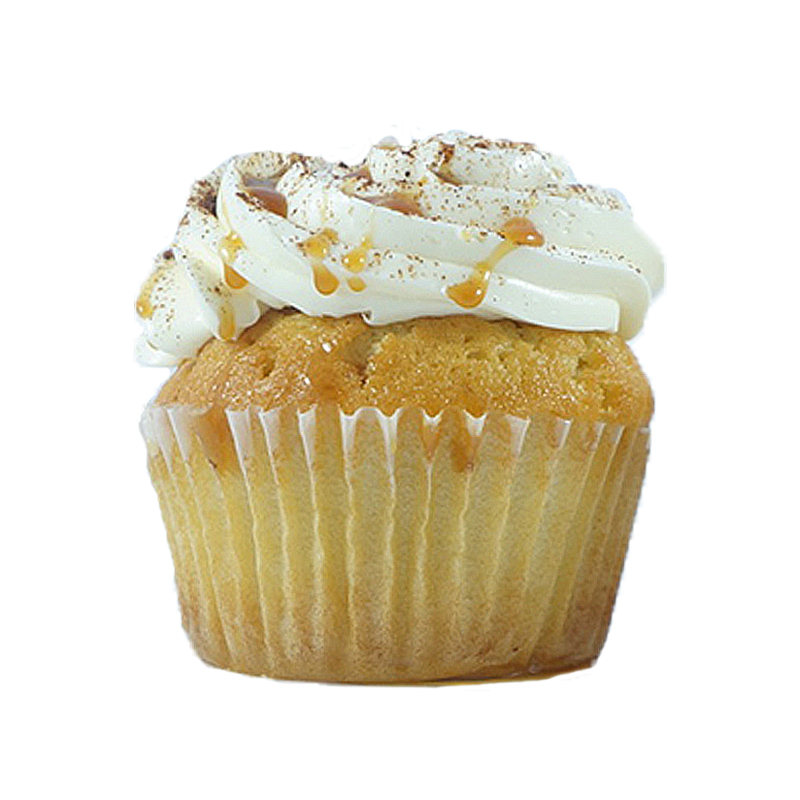 Apple Twist   Vanilla cupcake, Apple-Cinnamon filling, Vanilla buttercream, Cinnamon & Salted Caramel drizzle.   Available in regular and  mini size.       Gluten Free option available daily. Please call the store for daily flavor.
