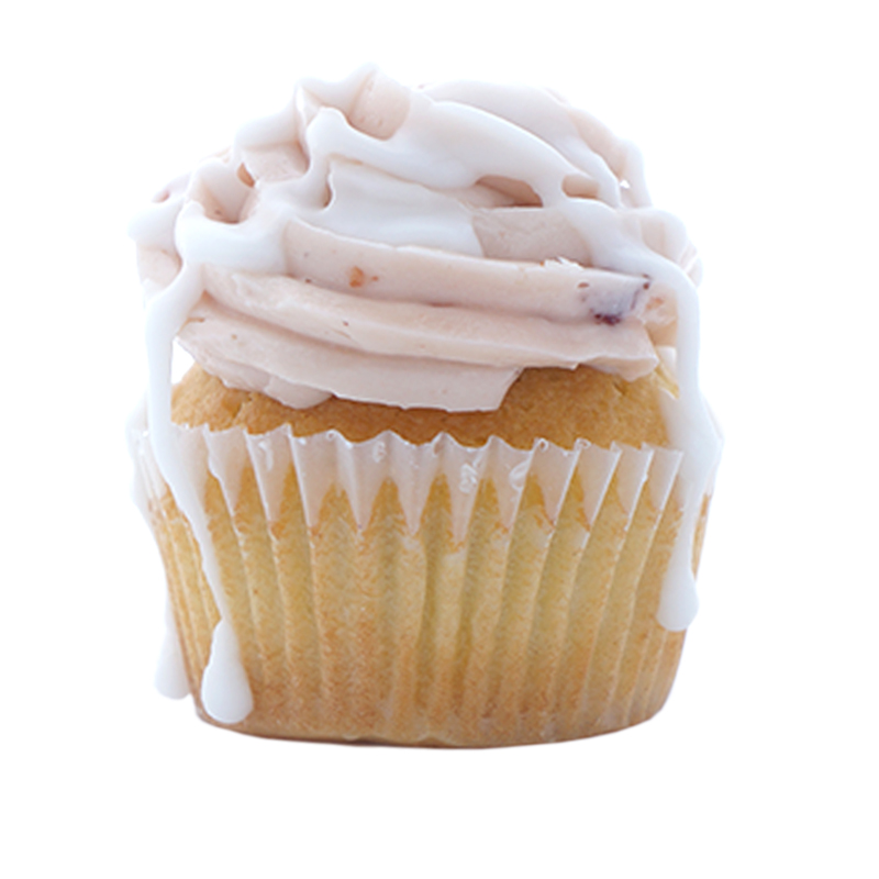 Limoncello   Lemon Cake, Strawberry buttercream, Lemon icing drizzle                                                                                       Available in regular and  mini size.       Gluten Free option available. Please call the store for daily flavors.