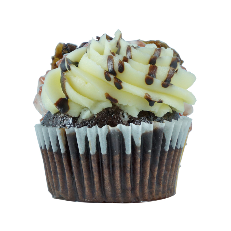 Snoopy   Chocolate Cupcake, Cream Cheese Frosting, Chocolate Sauce.                                                                  Available in regular and  mini size.       Gluten Free option available. Please call the store for daily flavor.