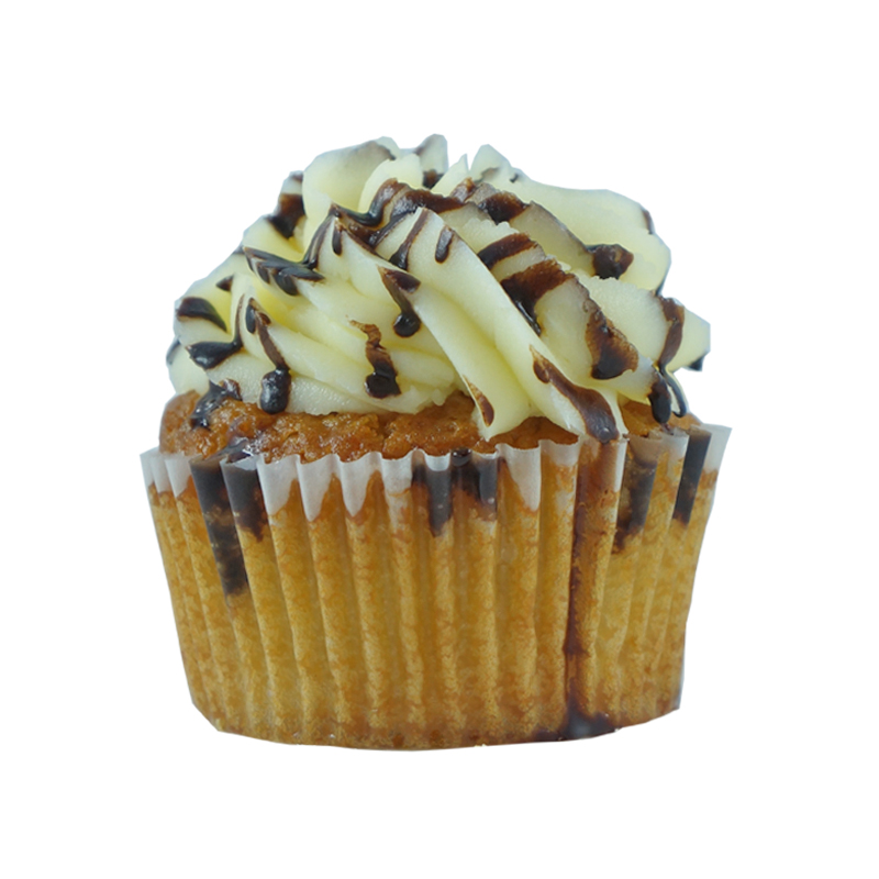 Go Bananas   Banana Cupcake, Cream Cheese Frosting, Chocolate Sauce.                                                               Available in regular and  mini size.       Gluten Free option available daily. Please call the store for daily flavor.