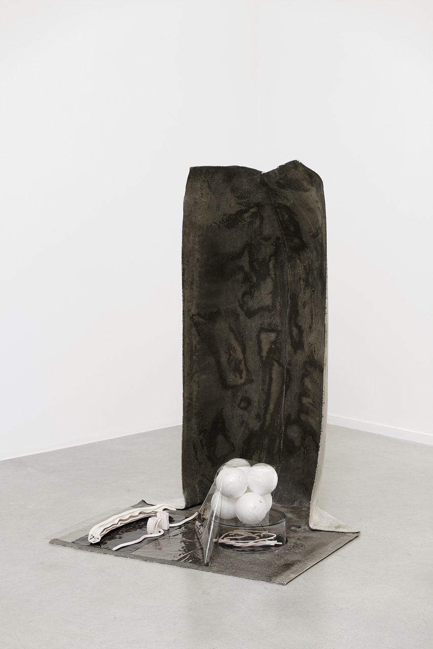 UNIT 3: Homunculus: Matter Against Memory , 2018 Concrete Canvas, ceramic, mealworm eaten polystyrene, vinyl, glass, perspex 58.5 inches tall x 41.5 inches wide x 41 inches deep