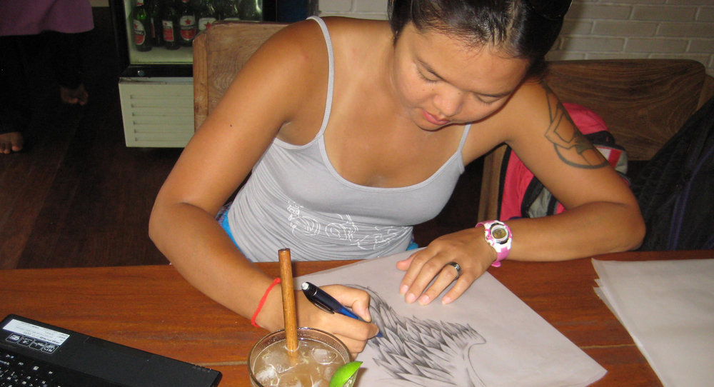 The drawing which became a tattoo. Bali, Indonesia.