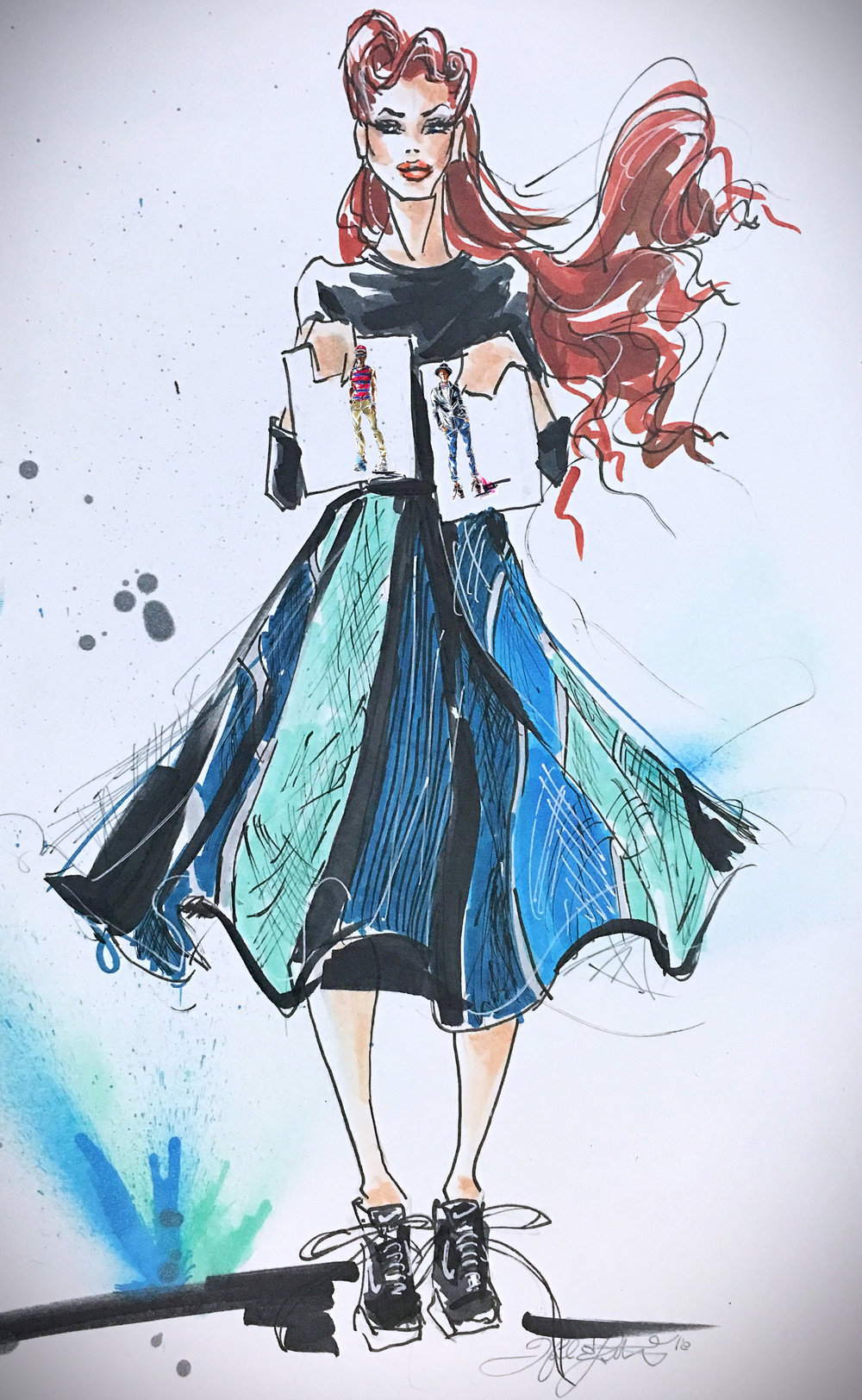 Fashion illustration by MelEesa Lorett. Click   here   for more of her work.