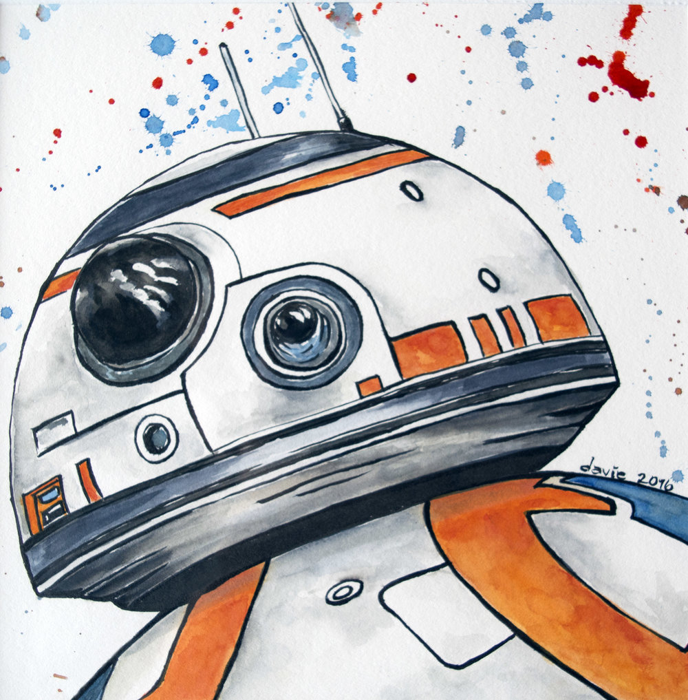 Star Wars: BB8 Watercolour on Strathmore 400 series watercolour paper.